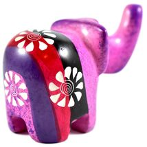 SMOLArt Hand Carved Soapstone Pink Red Black Purple Elephant Figurine Made Kenya image 3