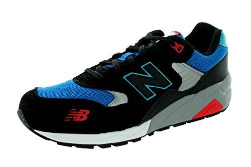 New Balance Men's 580 Lifestyle Black with Blue & Red Running Shoe 8.5 Men US