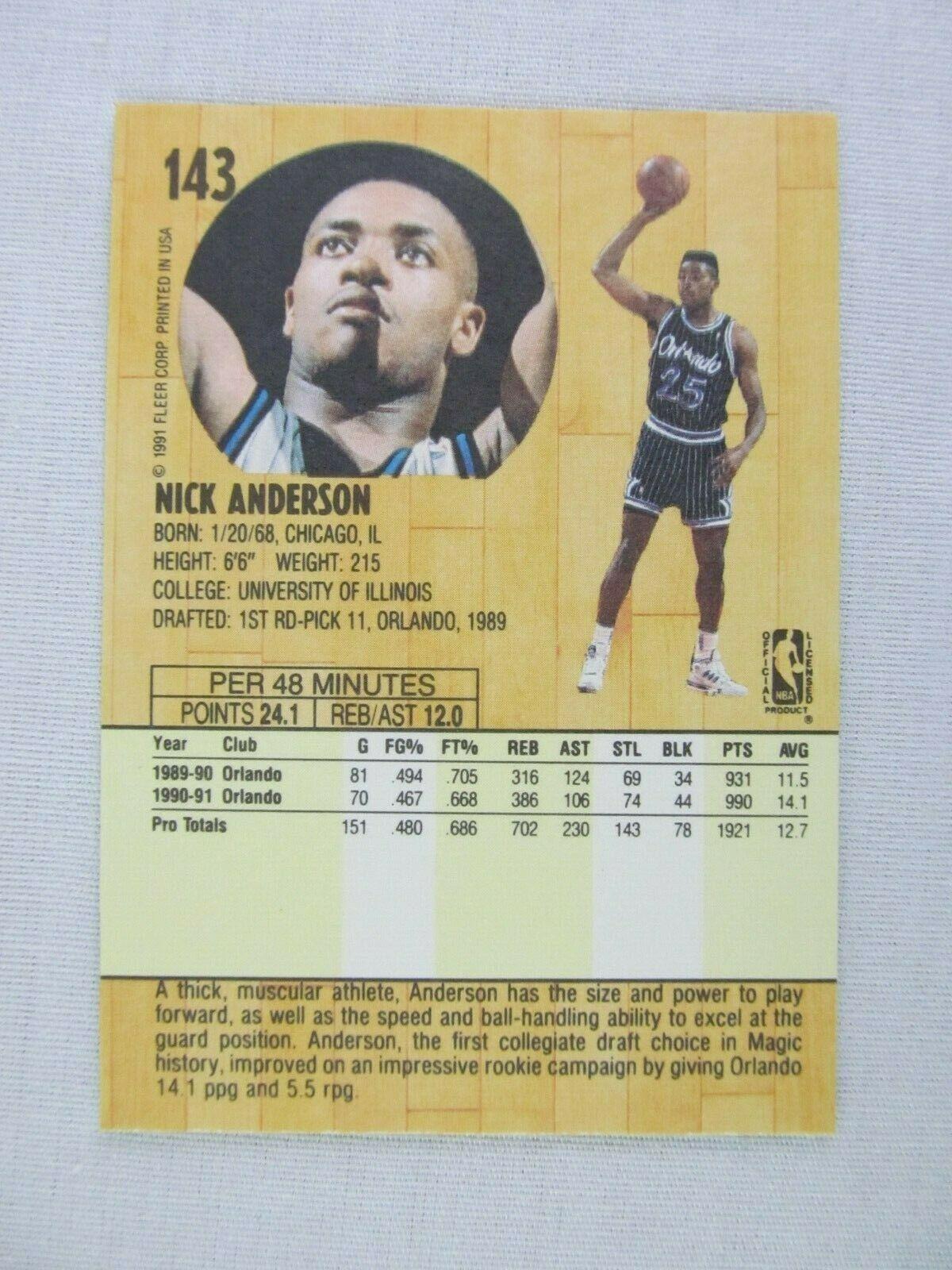 Nick Anderson Orlando Magic 1991 Fleer Basketball Card 143