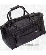 "17"" Black Leather Tote Travel Bag Duffle Carry On Gym Sport Luggage Over... - $21.99"
