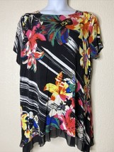 Avenue Womens Plus Size 22/24 Colorful Floral Trumpet Tunic Short Sleeve - $19.32