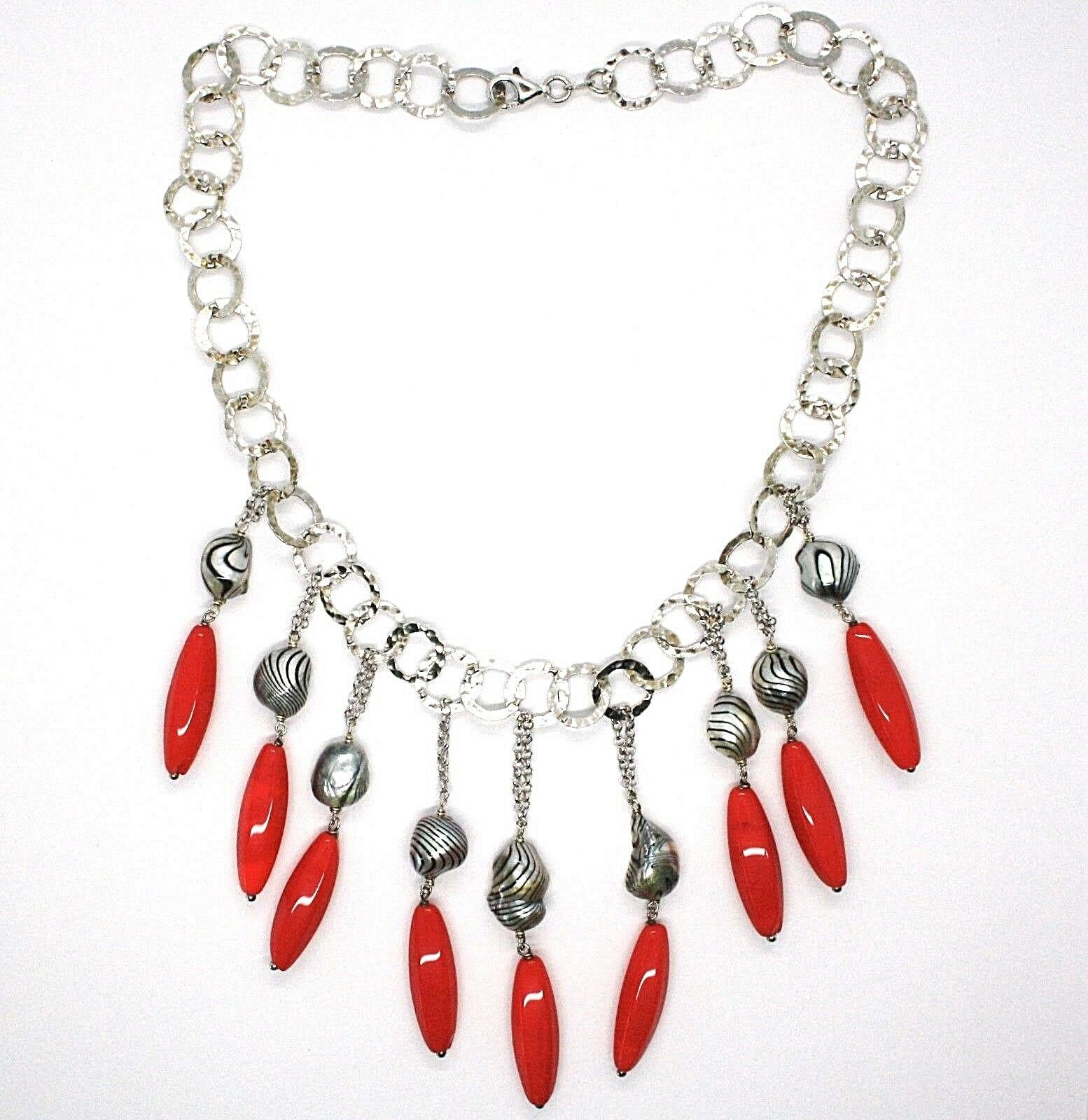 Silver 925 Necklace, Coral, Pearls Grey Painted, Waterfall, Hanging image 2