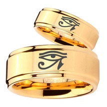 Bride and Groom Seeing Eye Step Edges Gold Tungsten Personalized Ring Set - $69.98