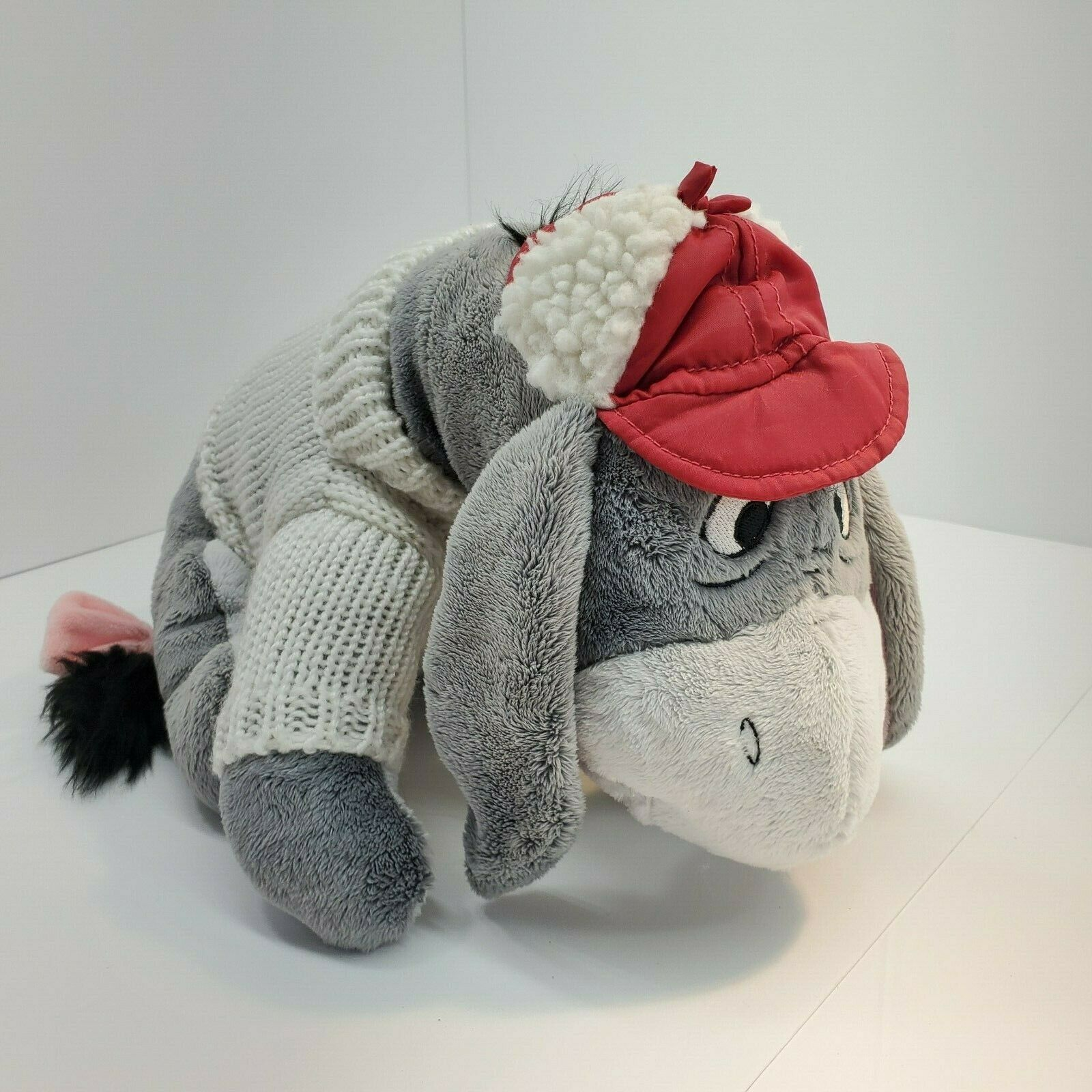 Primary image for Cozy Cable Eeyore Disney Store Plush Red Hat Sweater Green Snowflake New 14""