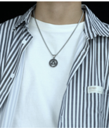 Personalized Men's Titanium Steel Round Triangle Hollow Pendant, Necklace - $32.80