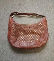 Cole Haan Large Cognac Brown Woven Leather Hobo Handbag Purse Wmns  - $60.38