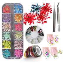 3D Nail Art Accessories Kits 12 colors Natural Real Dry Flower, Nails Rh... - $12.55