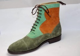 Handmade Men's Multi Colors Suede Two Tone High Ankle Lace Up Boots image 3