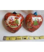 2 VINTAGE Paper Mache Ornaments Heart Shape Christmas Scenes decorations... - $13.06