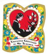Vintage Valentine Card Teacher at Desk 1920s 1930s - $6.92