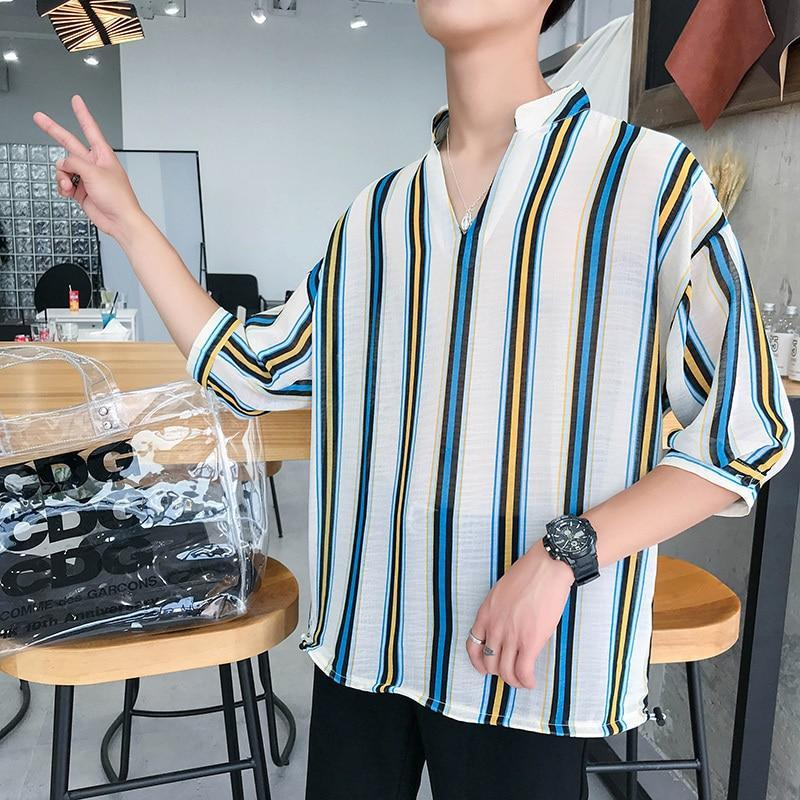 Primary image for 2018 Summer Men's Fashion Casual Loose Vertical Stripe Printing Cotton Clothes V