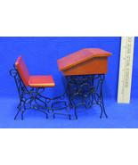 Wood & Metal Old Style School House Desk Miniature Mini Doll House Furni... - $14.84