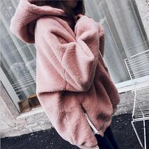Winter Faux Fur Jacket side zipper split sweatshirt women Warm Velvet Hooded Hoo - $103.48