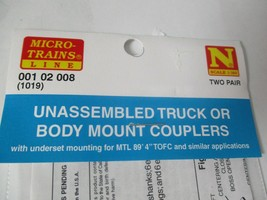 """Micro-Trains Stock #00102008 (1019) Unassembled Couplers For MTL 89' 4"""" TOFC image 2"""