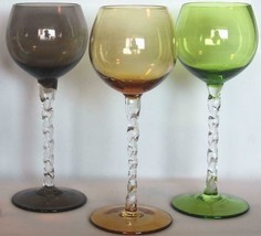 3 Round Bowl Twisted Rope Stem Amber Grey Green Bowl & Base 7-1/4 Wine Goblets - $29.99