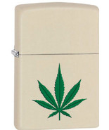 ZIPPO Marijuana Leaf Cream Lighter Matte Exclusive CI406218 Weed Pot 420 - $21.99