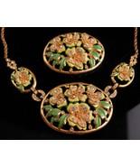 Vintage enamel necklace set - flower brooch - demi Parure - hand painted... - $125.00