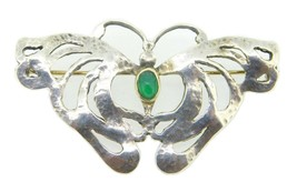Hand Wrought Sterling Silver Butterfly Pin w/ Genuine Natural Chrysopras... - $195.00