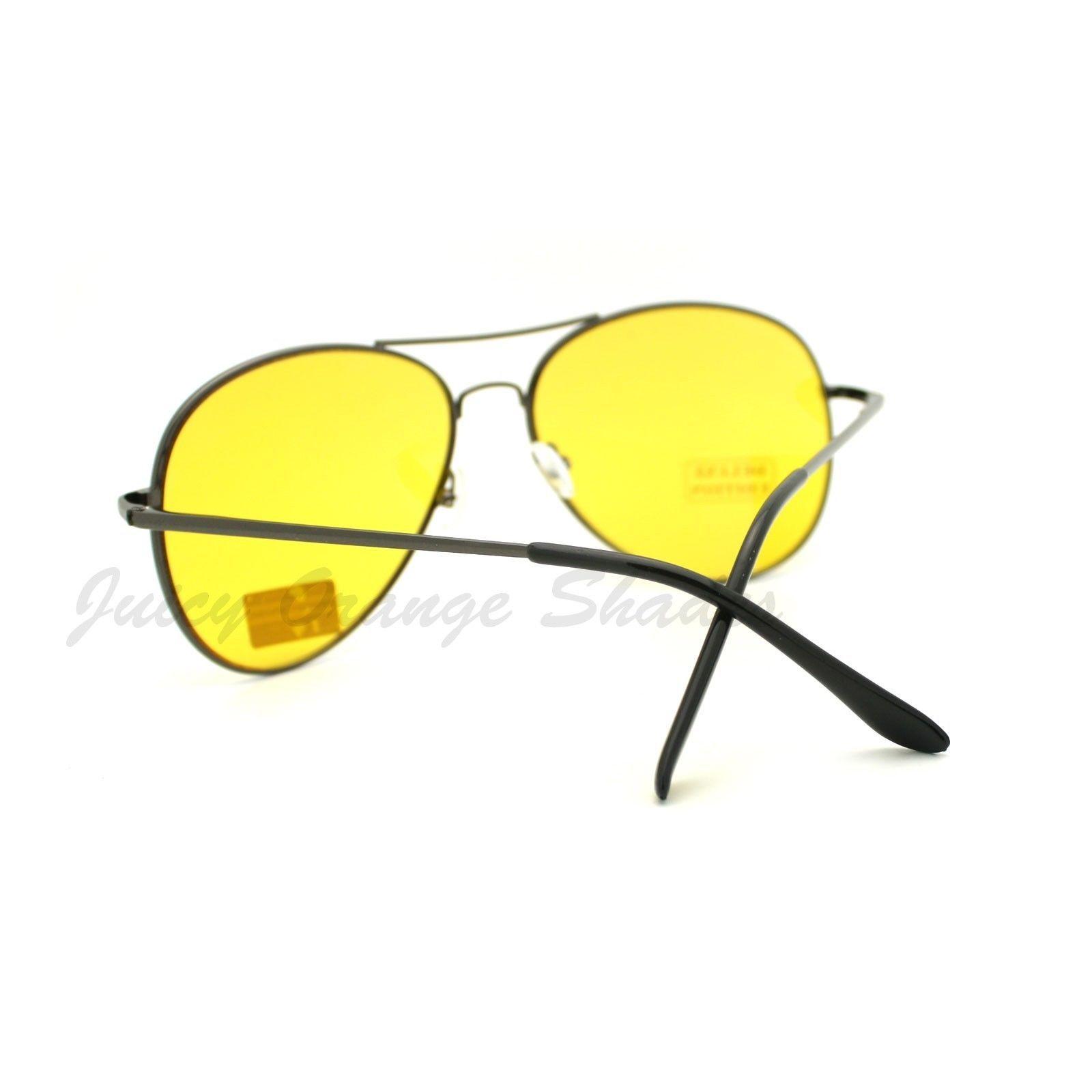 Yellow Lens Foggy Weather Round Aviator Sunglasses UV 400