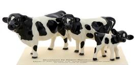 Hagen-Renaker Miniature Ceramic Cow Figurine Holstein Bull Cow and Calf Set image 1