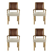 FOUR ACCENT DINING ARMCHAIR HONEY HARDWOOD TOP LEATHER WOVEN FABRIC SEAT... - $1,927.20