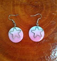 Polymer clay pink star earrings - $18.99