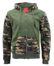 MX USA Men's Army Camo Zip Up Sherpa Hoodie Fleece Hunting Sweater Jacket image 8