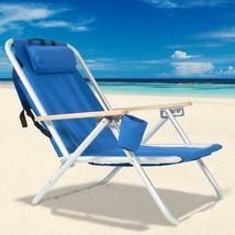 Portable Foldable Heavy Duty Blue Beach Chair With Adjustable Headrest - €47,21 EUR