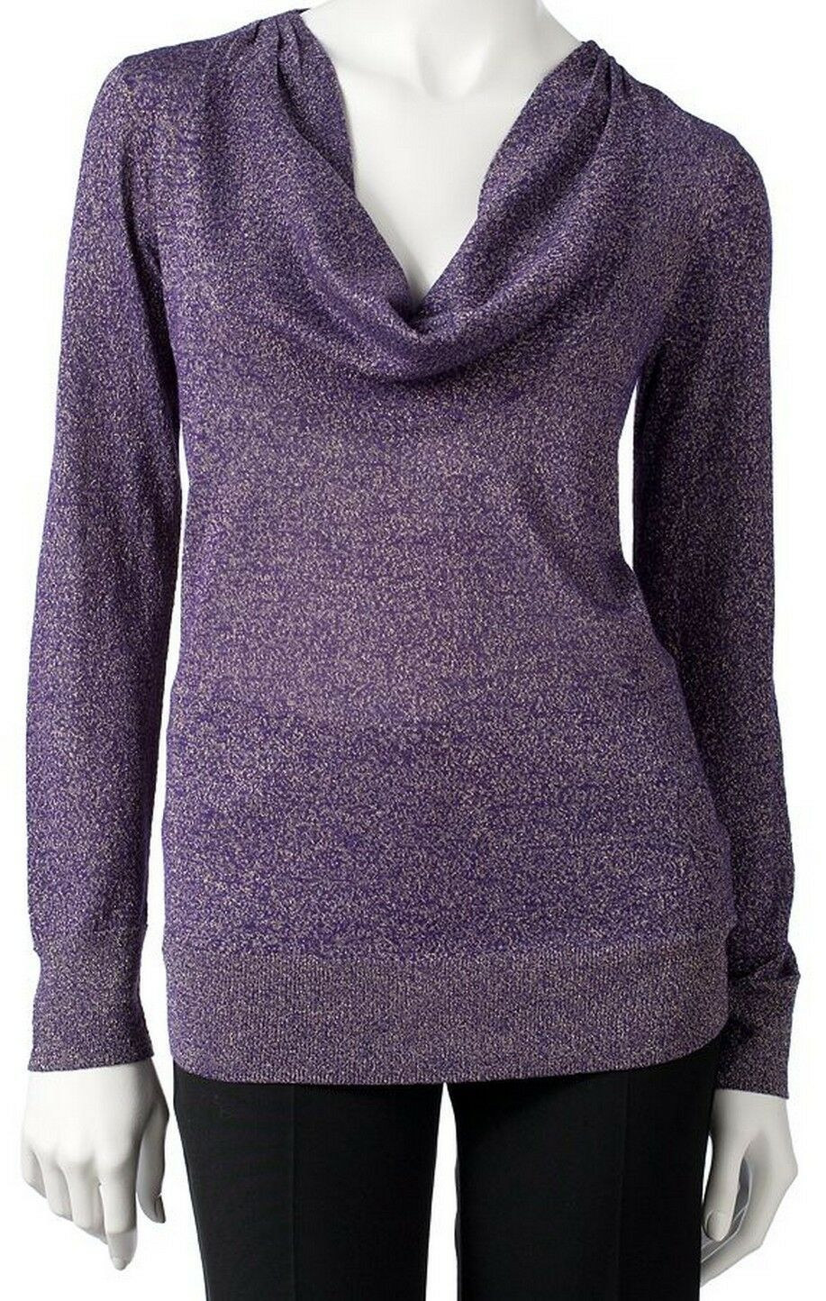 Primary image for Dana Buchman Purple Metallic Lurex Cowlneck Sweater Blouse Top