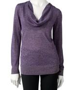 Dana Buchman Purple Metallic Lurex Cowlneck Sweater Blouse Top - $29.98