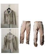 New Men's Native American Beige Suede Cow Leather Fringe Jacket & Pant WS09 - $197.01+