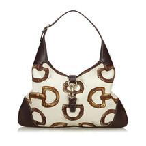 Pre-Loved Gucci White Canvas Fabric Horsebit Print Jackie Shoulder Bag I... - $401.12