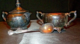 Wm. Rogers Silver Plate Creamer and Sugar with Silver Spoon AA22-2183 Vintage