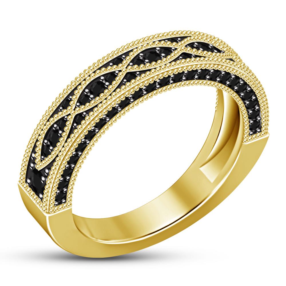 14K Yellow Gold Over Round Diamond Engagement Ring Set Bridal Wedding Band Ring
