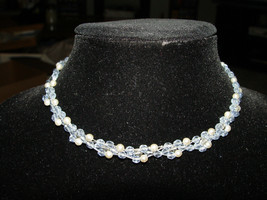 VTG Seasonal Whispers Signed Light Blue Faux Pearl Choker Necklace Silve... - $59.40