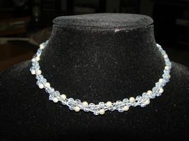 VTG Seasonal Whispers Signed Light Blue Faux Pearl Choker Necklace Silve... - $59.40