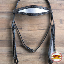 Hilason Western Horse Headstall Bridle American Leather Black Silver U-R-HS - $63.31