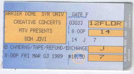 Bon Jovi 1989 Vintage Ticket Stub Syracuse Carrier Dome Concert Mtv Pres...  - 945a65cdbe66