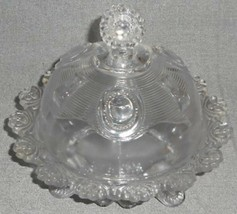 1960s Imperial Glass DEWEY PATTERN Clear Footed CHEESE/BUTTER DISH Domed... - $39.59