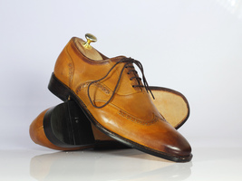 Handmade Men's Tan Wing Tip Brogues Lace Up Dress/Formal Leather Oxford Shoes image 1