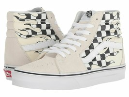 VANS SK8 HI CHECKER FLAME CLASSIC TRAINER SPORT MEN SHOES WHITE/BLACK SZ... - £60.96 GBP