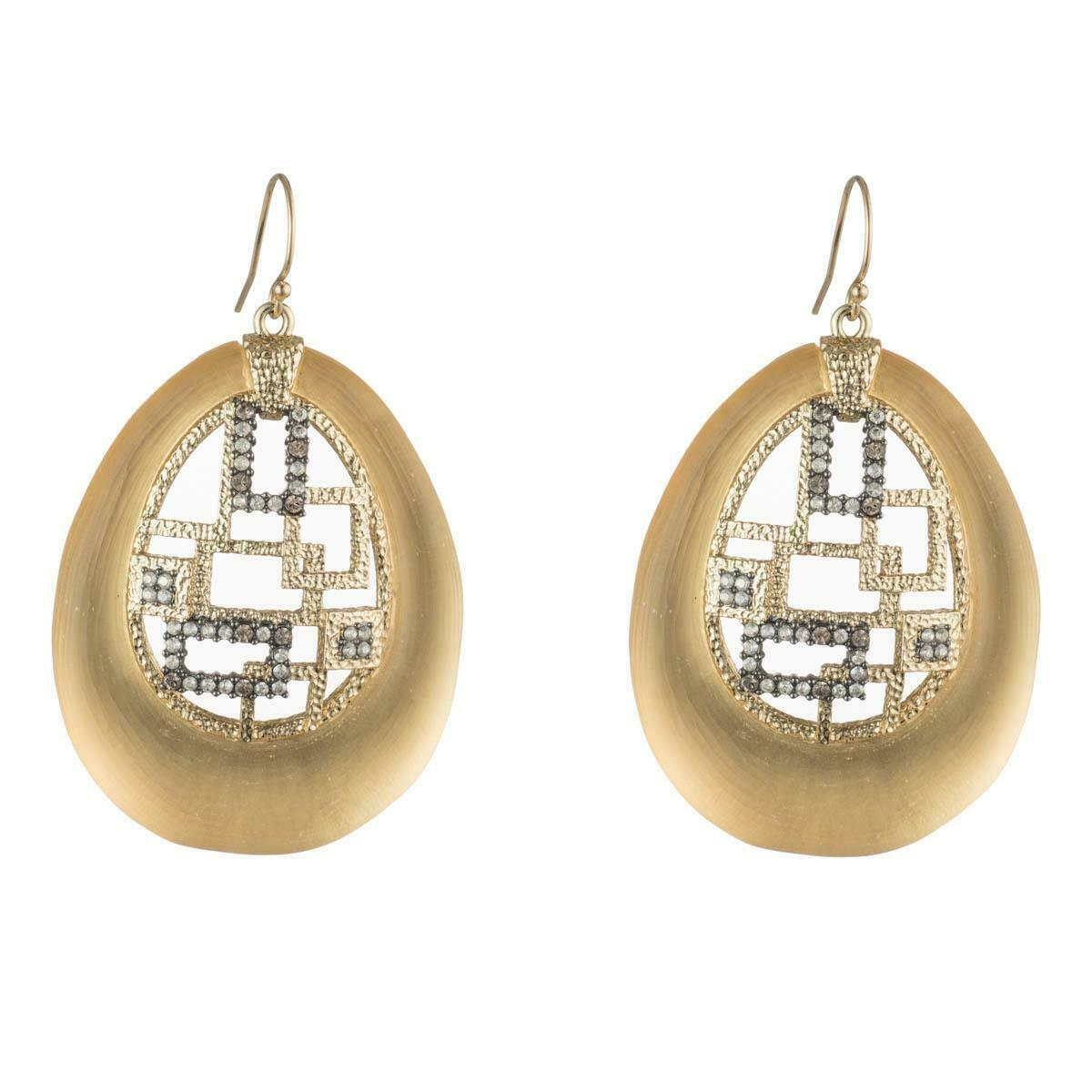 Primary image for Alexis Bittar Brutalist Gold Lucite Crystal 14k Gold Plated Drop Earrings NWT