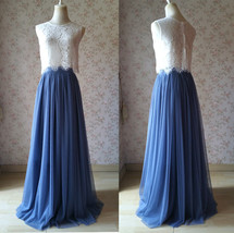 Two Piece Bridesmaid Dress Dusty Blue Tulle Maxi Skirt Crop Lace Top image 1