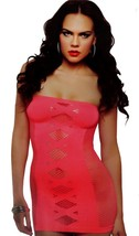 NEW ROCKALICIOUS WOMEN'S STRETCH MINI SEXY LINGERIE DRESS ONE SIZE CORAL #R108