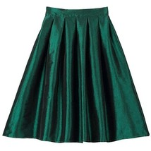 Women Pink Full Pleated Party Skirt A Line High Waist Knee Length Taffeta Skirt  image 6