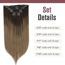 Easyouth Clip in Remy Hair Extensions Double Weft Hair Balayage Color 2 Darkest  image 3