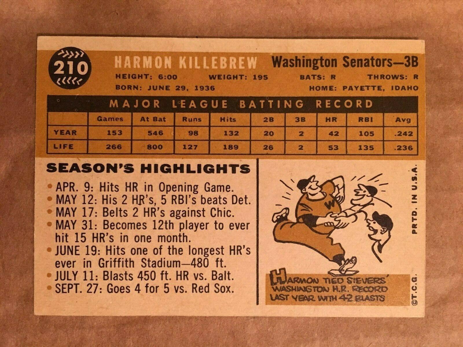 1960 Topps #210 Harmon Killebrew Baseball Card NM Condition Senators RF1