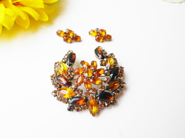 Juliana Brooch Earring Set Vintage Yellow & Amber Swarovski Crystal Rhin... - $85.00