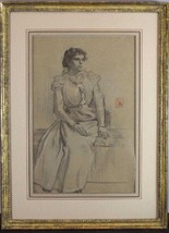 Lucien Abrams Charcoal Drawing Victorian Woman Portrait - $1,838.94