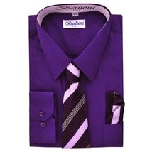 Berlioni Italy Toddlers Kids Boys Long Sleeve Dress Shirt Set With Tie & Hanky image 13